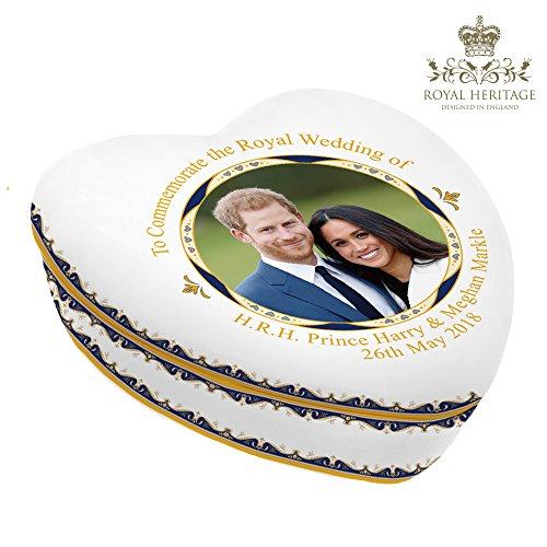 Lesser & Pavey H.R.H. Prince Harry & Meghan Markle Royal Wedding 19th May 2018 Commemorative Ceramic Trinket Box Fine China, Multi-Colour, 11.5 x 12 x 4.5 cm