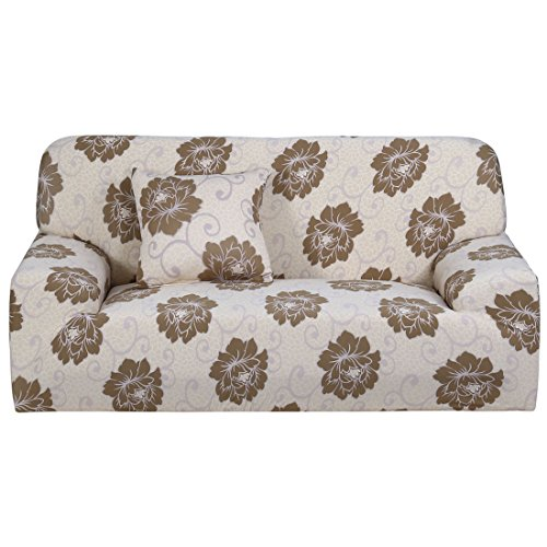 uxcell Stretch Sofa Cover Loveseat Couch Slipcover, Machine Washable, Stylish Furniture Protector Covers with One Cushion Case (3 Seater, Pattern 17)