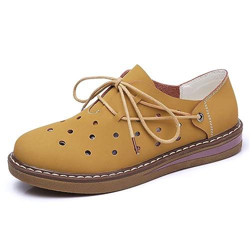 Mujeres Zapatillas de otoño Invierno Oxford Zapatos Flats Zapatos Mujer Cuero Gamuza Encaje hasta Barco Zapatos Redondos Toe Pisos Mocasines: Amazon.es: ...