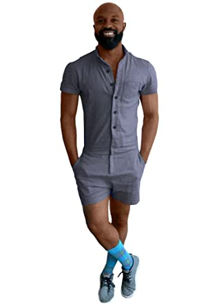 406f74639e55 RockBerry Brand New Mens Romper for Dudes Summer Delight Outfits 100%  Cotton Overall  Amazon.co.uk  Clothing