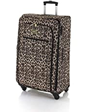 Marikai Leopard 77cm Soft Suitcase Luggage Trolley Brown Multi Large