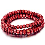 Flongo Men's Women's Tribal 6mm Tibetan Buddhist Link Bracelet Wrist Red Buddha Mala Beads