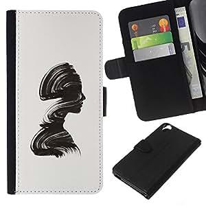 Planetar® Modelo colorido cuero carpeta tirón caso cubierta piel Holster Funda protección Para HTC Desire 820 ( Minimalista Cepillo Alivio Mujer)