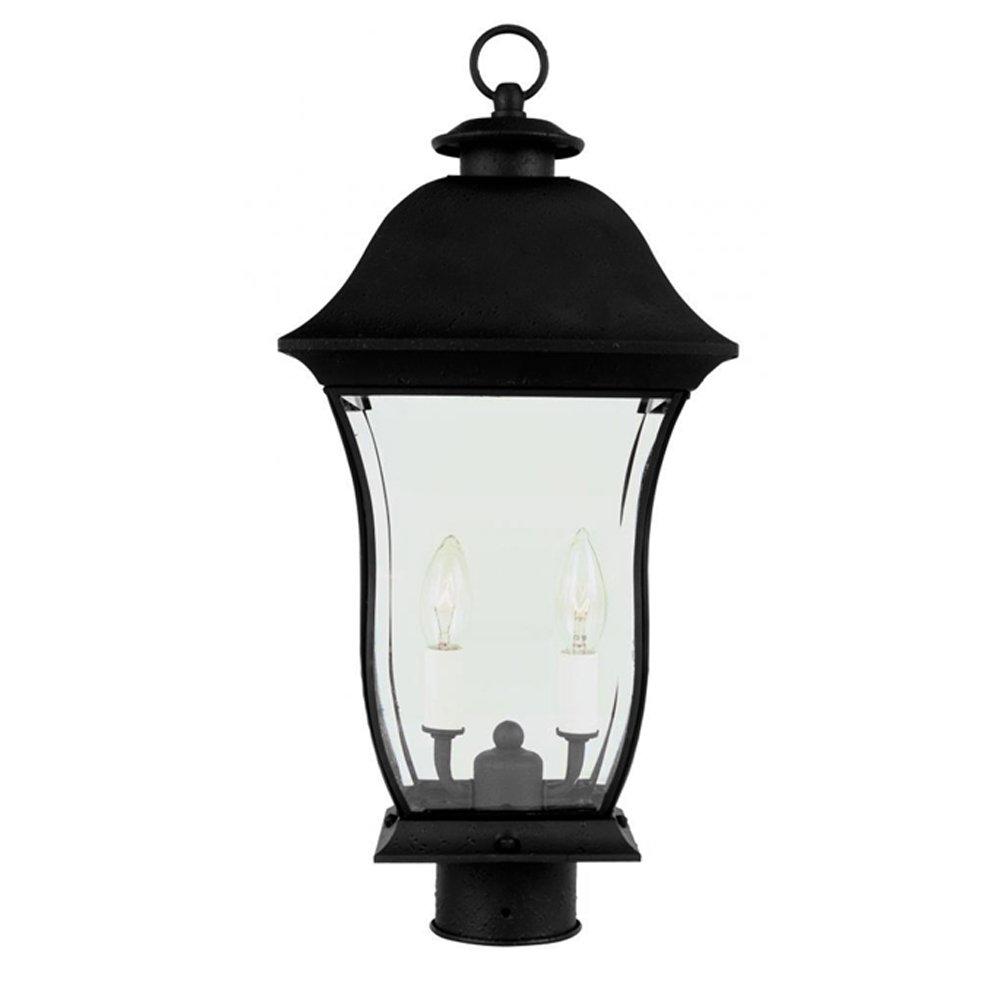Transglobe Lighting 4972 BK Post Head with Beveled Glass Shade, Black Finished