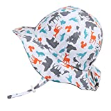 Fun Toddler Boys Girls Adjustable Cotton Sun Hats 50 UPF, Stay-on Tie (M: 6-30m, Floppy Hat: Woodland - Toggled Chinstrap)