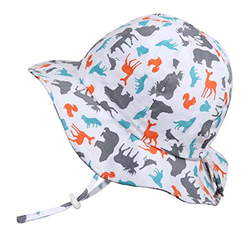 - JAN & JUL Kids Foldable Adjustable Summer Sunhat 50 UPF, Stay-on Chin Strap, Animal Print (XL: 5-12Y, Floppy Hat: Woodland - Toggled Chinstrap)