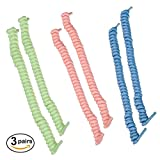 COMFYGLO Glow in the Dark No-Tie Curly Elastic Shoelaces – 3 Pair of Tieless Laces