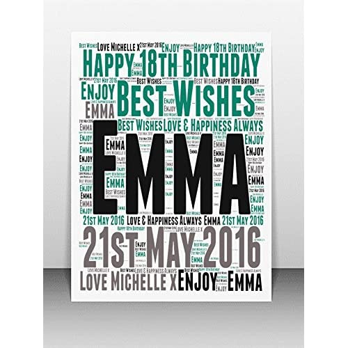 Personalised 18th Birthday Word Art Greeting Card PLEASE REFER TO IMAGE SECTION FOR INSTRUCTIONS