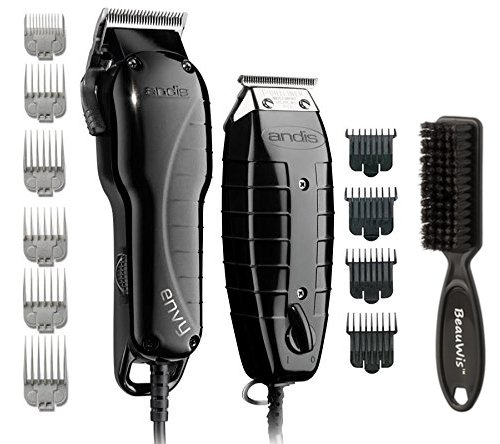 Professional Barber Clippers (Andis Stylist Combo-Powerful High-speed adjustable clipper blade & T-Outliner T-blade trimmer with fine teeth for dry shaving, outlining and fading With a BeauWis Blade Brush Included (Black))