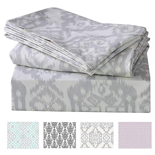 (Printed Bed Sheet Set King Size 100% Polyester Soft Brushed Microfiber Bedding Sheet, Hypoallergenic, with Deep Pocket Fitted Sheet, Luxury Bedding Collection(Satorini, King))