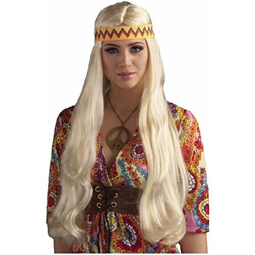 Hippie Chick Wig with Headband Costume Accessory Adult (Dead Mouse Head Costume)
