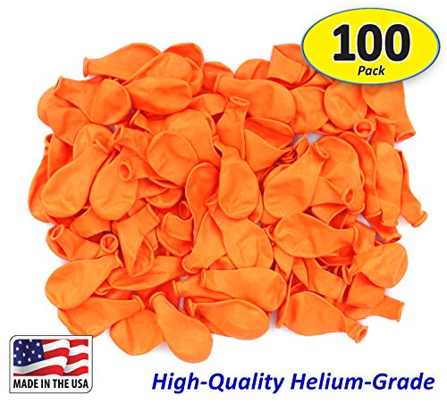 Pack of 100, Bright Orange Color Latex Balloons,