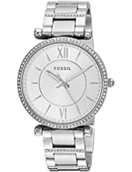 Fossil Womens Carlie Quartz Stainless Steel Casual Watch, Color:Silver-Toned (Model: ES4341)