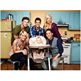 Baby Daddy 8x10 Photo Jean-Luc Bilodeau, Tahj Mowry, Chelsea Kane, Melissa Peterman & Derek Theler w/Baby in Kitchen Pose 1 kn