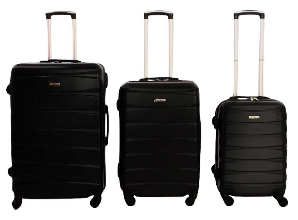 Dublin 2 set da 3 pezzi valige trolly in ABS e policarbonato con 4 ruote girevoli 360° gradi colori vari (Nero) A-30