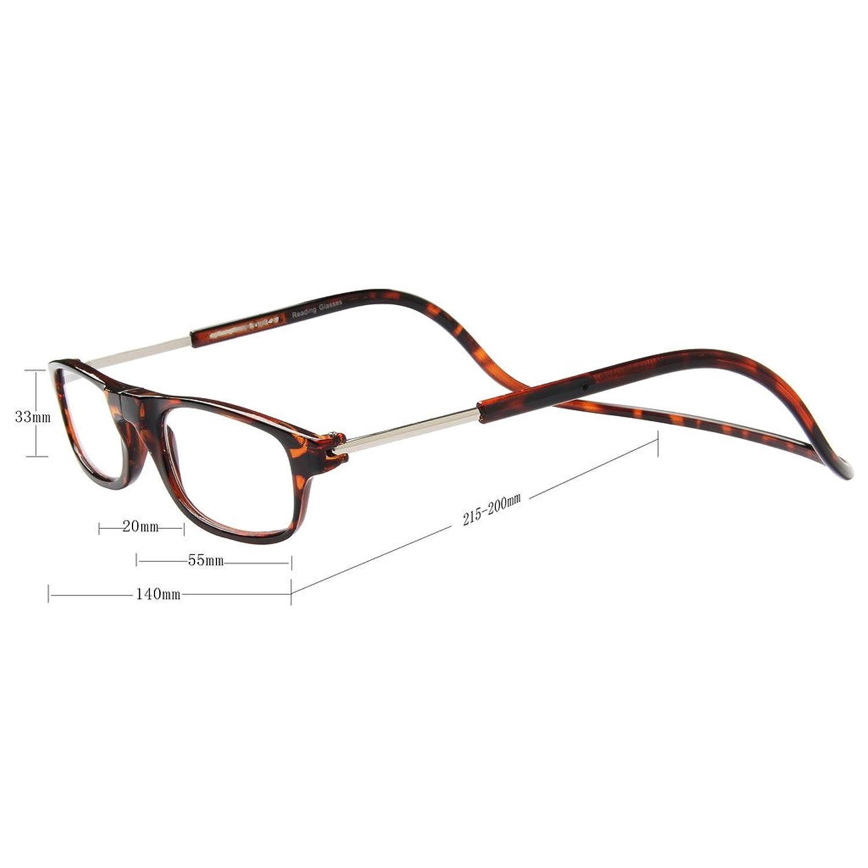 Jee occhiali da lettura da vista donna uomo reading glasses magnetici OL02(Nero,+2.50)