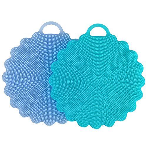 Price comparison product image Food-grade Antibacterial Silicone Non Stick Dishwashing Dish Brush Sponge Towel Scrubber For Kitchen Wash Pot Pan Dish Bowl / Wash Fruit and Vegetable (Blue+Sky Blue)