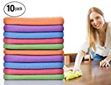 ForNeat Dish Rags Dish Cloths Kitchen Washcloths-10 Pieces 5 Colors Microfiber Glass Cleaning Cloths, Lint Free - Streak Free | Quickly and Easily Clean Windows & Mirrors, 12 by 12-Inch