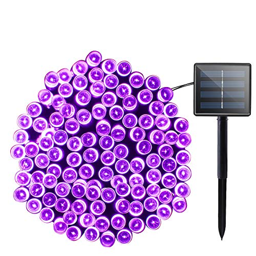 Lalapao Solar Powered String Lights Halloween Outdoor Decor 72ft 200 LED 8 Mode Fairy Lights Waterproof for Indoor Garden Party Patio Home Wedding Lawn Christmas Tree Decorations (Purple)