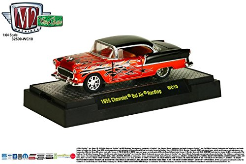 (1955 CHEVROLET BEL AIR HARDTOP (Orange / Black) * Wild Cards Series Release 10 * M2 Machines 2015 Castline Premium Edition 1:64 Scale Die-Cast Vehicle ( WC10 15-57 ))