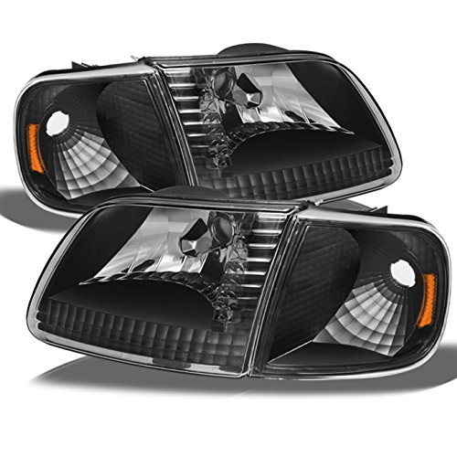 For 1997-2003 Ford F150 F250 Light Duty Heritage Expedition OE Replacement Black Headlights Corner Left/Right Lamp