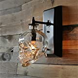 SUSUO Lighting Vintage Rrtro Style 1 Light Class Skull Bedside Wall Sconce Unique Cool Wall Lamp Lighting Fixture