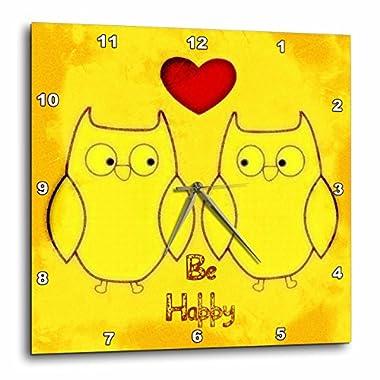 3dRose Be Happy Yellow Owls - Birds - Fun Art - Wall Clock, 13 by 13-Inch (dpp_52791_2)