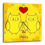 3dRose Be Happy Yellow Owls – Birds – Fun Art – Wall Clock, 13 by 13-Inch (dpp_52791_2) Review