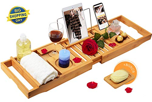 Domax Bathtub Caddy Tray with Wine Glass Holder Adjustable Book Stand Extendable Non Slip Sides Bamboo Bath Organizer Free Soap Holder