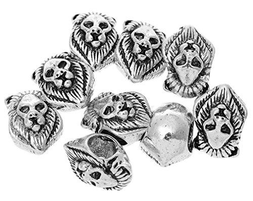 Souarts Antique Silver Color Lion Head Shape Spacer Beads Fits European Charm Bracelet Pack of - Shapes Head Women