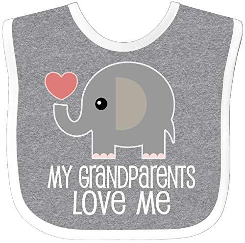 Inktastic My Grandparents Love Me Baby Clothes Baby Bib Heather/White