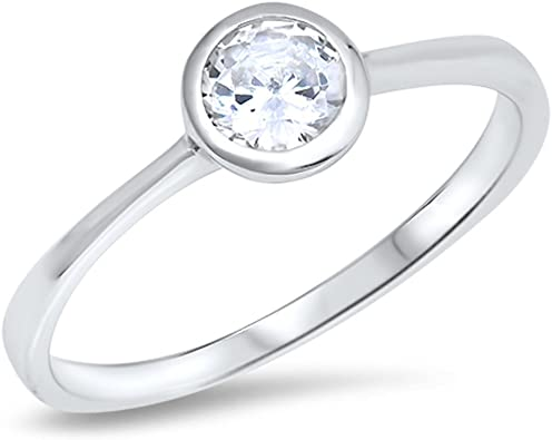 Wedding Solitaire White CZ Promise Ring New .925 Sterling Silver Band Sizes 4-10