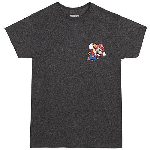 Mario Suit (Super Mario Tanooki Suit Chest Logo Adult T-Shirt - Heather Charcoal (Small))