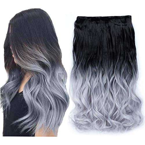 Beautyself Clip in Hair Extensions Ombre 2 Tone Black to Blue Grey One Piece Curly Hair Pieces for -