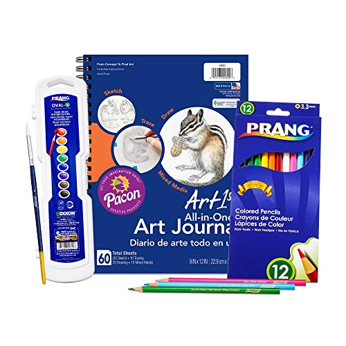 Prang Art1st Complete Mixed Art Kit, Includes Art Journal, Oval-8 Watercolor Set and 12 Colored Pencils (14639)