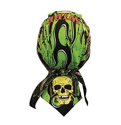 Danbanna Deluxe Neon Green Black Orange Wide Open Pinstripe Flames Headwrap Doo Rag Skull Cap Durag Sweatband Adjustable - Stripes Headwrap