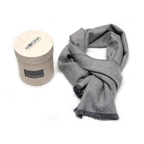 100% Cashmere Herringbone Scarf, Mens Luxury Cashmere Scarf (26/2 Yarn Composition) , Luxury Cashmere Scarves for Men, Woven Cashmere Grey Scarf