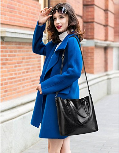 ciré bandoulière femme pour Sac à à grande ciel en Noir cuir capacité bleu l'huile Ywg6q