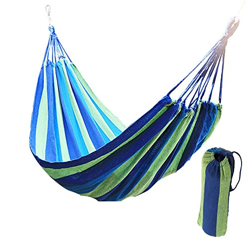 Price comparison product image Physport Travel Camping Hammock Cotton Fabric Swing Bed Canvas Stripe Outdoor Portable with Bag
