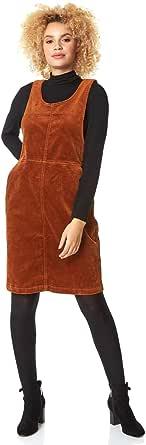 Roman Originals - Vestido de terciopelo acanalado para mujer, diseño de rayas con textura y cuello redondo, estilo informal