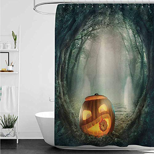 home1love Shower stall Curtains,Halloween Drawing of Scary Halloween Pumpkin Enchanted Forest Mystic Twilight Party Art,Bathroom Decoration,W72x72L,Orange (College Halloween Party Tumblr)