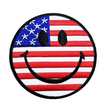 R2K Smile Face UNITED STATES US USA American Flag Patch Sew Iron on Applique Embroidered Emblem Badge Patch
