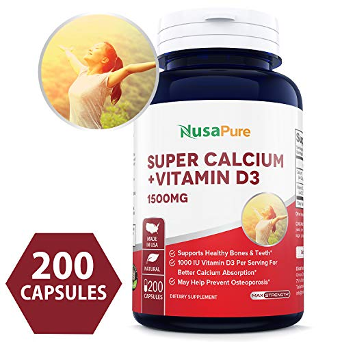 Best Super Calcium 1500mg with Vitamin D 1000IU 200 Powder Caps (Non-GMO & Gluten Free) Helps to Prevent Bone Loss, Osteoporosis - Made in USA - 100% Money Back Guarantee!