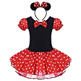Kid Girl Minnie Costume Tutu Dress Ear Headband Outfit Summer Puff Sleeve Polka Dot Ruffle Bowknot Christmas Halloween Dress Up # Red 18-24 Months