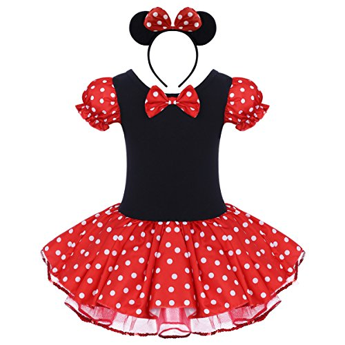 Toddler Girl Polka Dots Party Fancy Costume Tutu Dress up Dance Leotard Gymnastic Cosplay w/Mouse Ear Headband (4-5 Years, Red) -