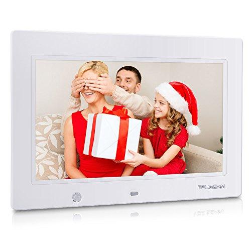 TEC.BEAN 10.1-Zoll HD Digitaler Bilderrahmen mit 16GB Speicher und Bewegungssensor, MP3- und Video-Wiedergabe (Weiß)
