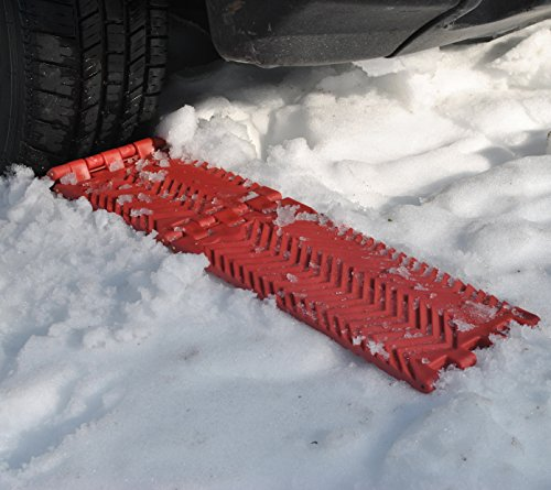 MAXSA 20025 Compact Folding Traction Mat for All Weather Vehicle Extraction (Set of 2), Red