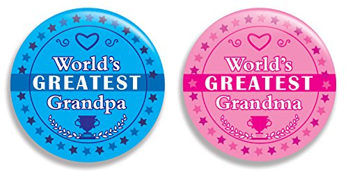 Grandpa Pin - World's Greatest / Best Grandma and Grandpa Pinback Buttons (2.25 inches) - Set of 2