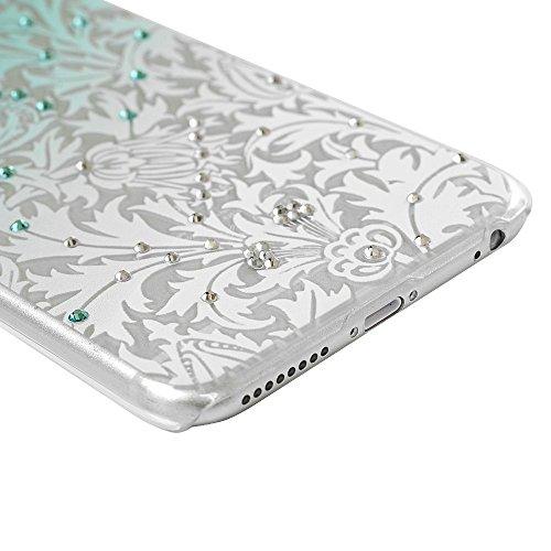 Mavis's Diary® Coque iPhone 6 plus/6s plus PC Rigide Bling Strass Fleur Feuille Dessin Coloré Housse de Protection Étui Téléphone Portable Phone Case Cover+Chiffon