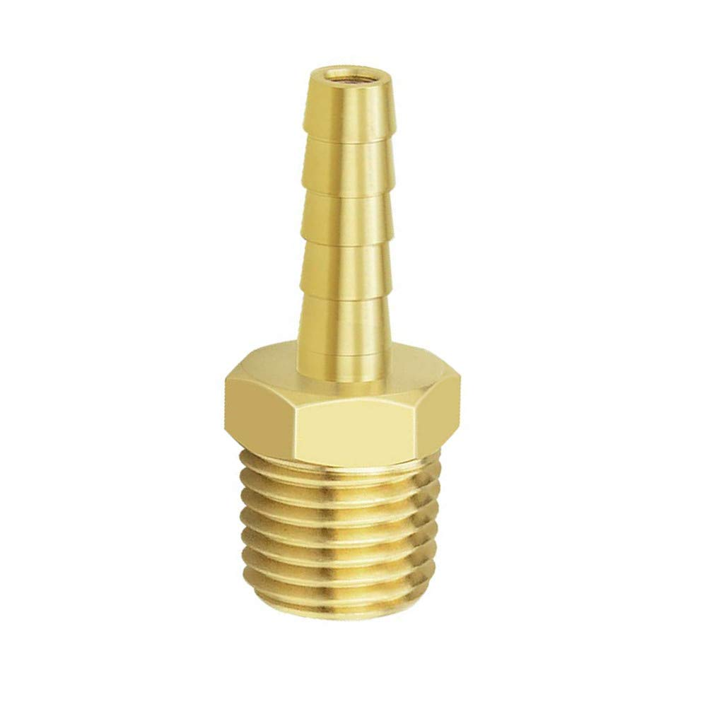 Adapter 1//4 Inch Hose Barb x 3//8 Inch NPT Male Pipe HONGLU Brass Hose Fitting